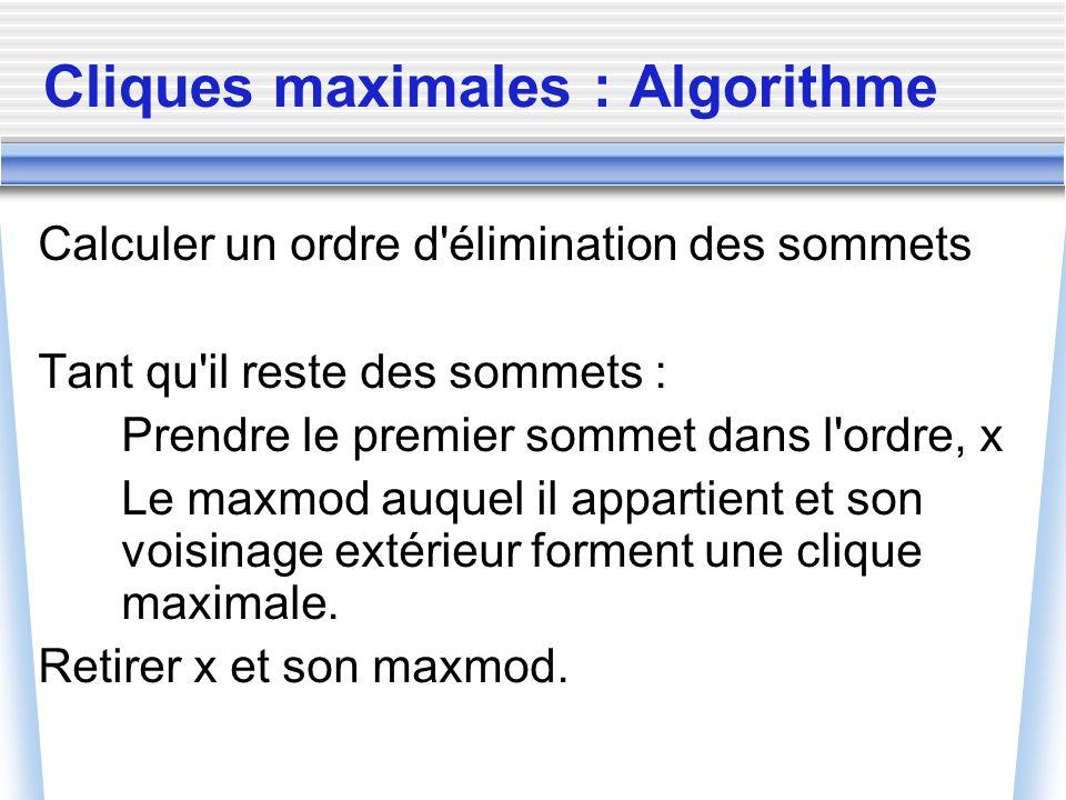 Cliques maximales : Algorithme Calculer un ordre d'élimination des sommets Tant qu'il reste des sommets : Prendre le premier sommet dans l'ordre, x Le