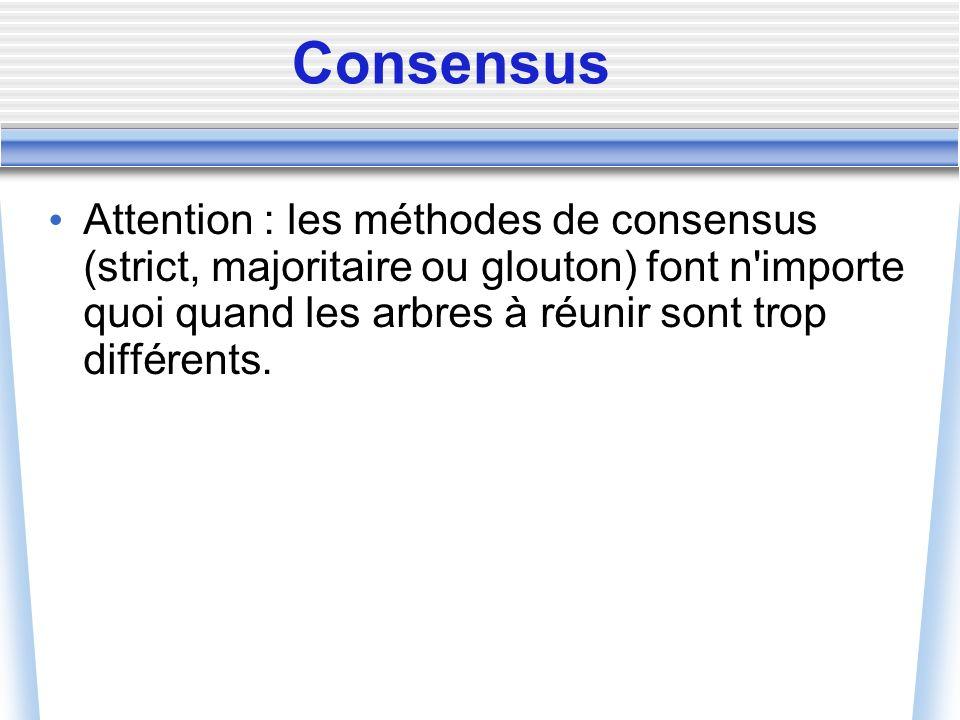 Consensus Attention : les méthodes de consensus (strict, majoritaire ou glouton) font n'importe quoi quand les arbres à réunir sont trop différents.