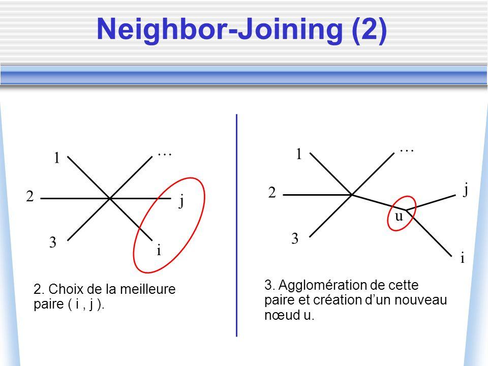 1 2 3 … j i 2. Choix de la meilleure paire ( i, j ). 1 2 3 … j i 3. Agglomération de cette paire et création dun nouveau nœud u. u Neighbor-Joining (2