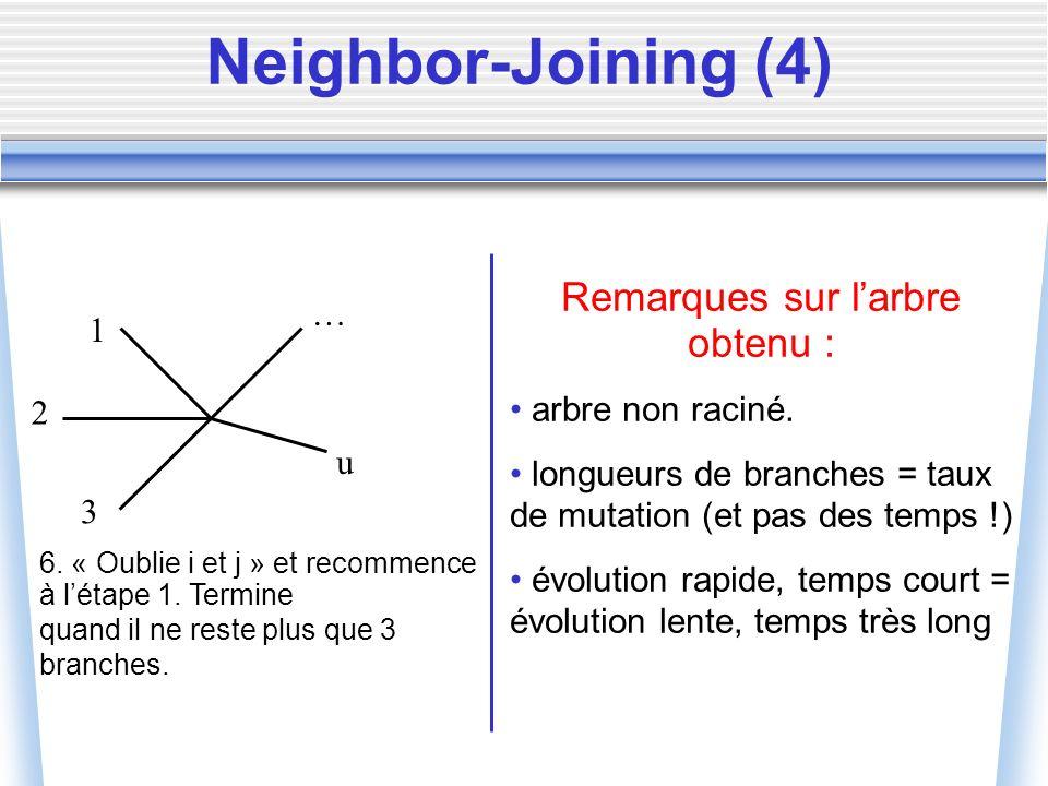 Élagage de la matrice de distances On ne peut pas retirer directement les « arêtes les plus longues », parce qu on n a pas encore d arbre, on a juste une matrice de distances.