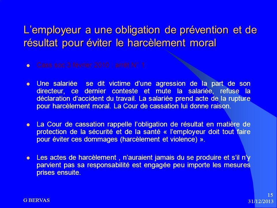 Lobligation de prévention pour lemployeur Article L.1152.4 CT « Lemployeur prend toutes dispositions nécessaires en vue de prévenir les agissements de