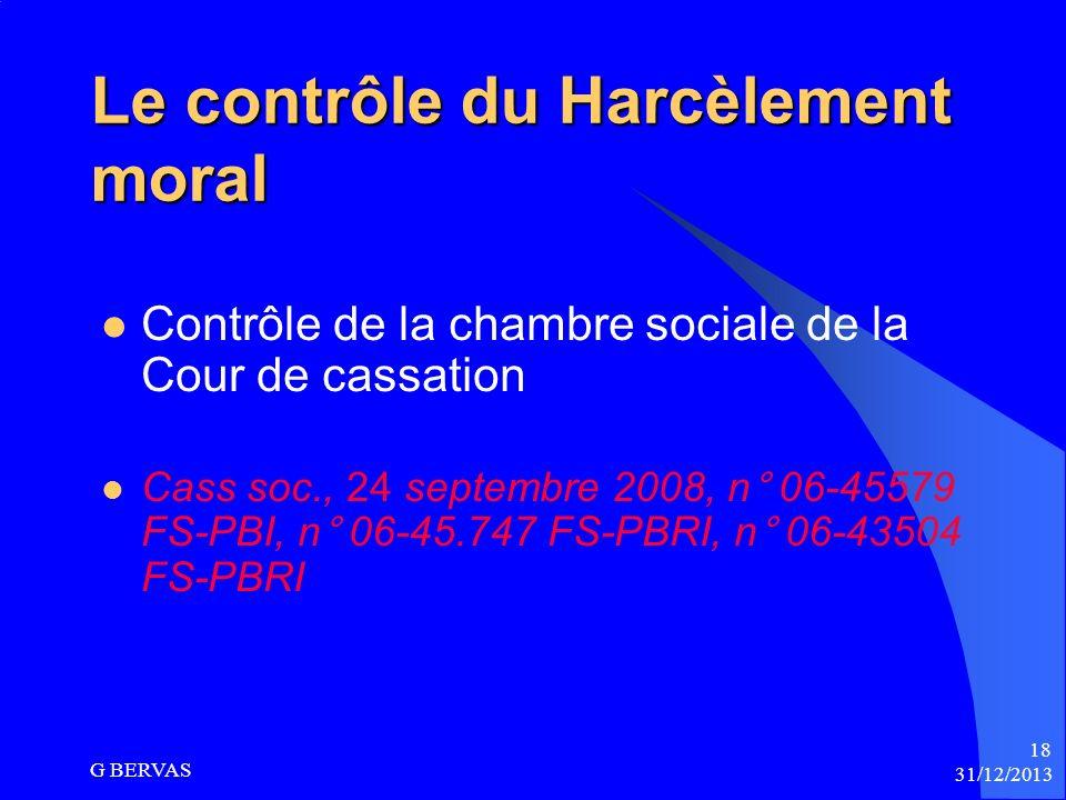 La Cour de cassation exerce son contrôle Sur la proportionnalité des agissements de lemployeur Sur la qualification de harcèlement moral Sur les agiss