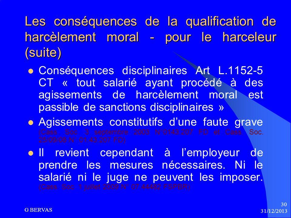 Les conséquences de la qualification de harcèlement moral – pour le harceleur Conséquences pénales : Art 222.33.1 Code pénal (jusquà 1 an de prison et