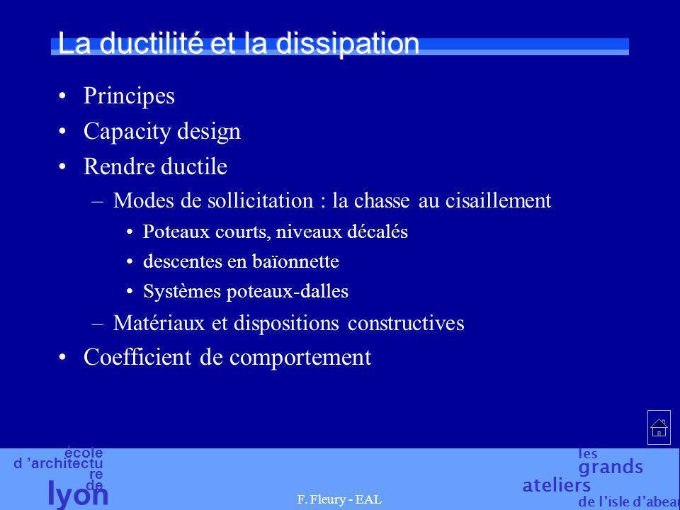 école d architectu re de l yon les grands ateliers de lisle dabeau F. Fleury - EAL La ductilité et la dissipation Principes Capacity design Rendre duc