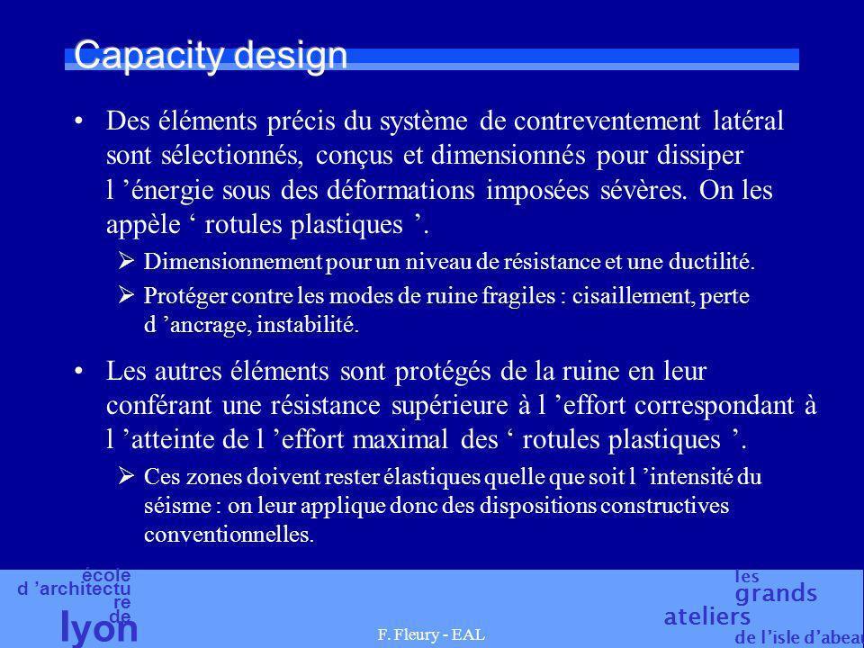 école d architectu re de l yon les grands ateliers de lisle dabeau F. Fleury - EAL Capacity design Des éléments précis du système de contreventement l