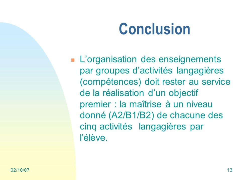 02/10/0713 Conclusion Lorganisation des enseignements par groupes dactivités langagières (compétences) doit rester au service de la réalisation dun objectif premier : la maîtrise à un niveau donné (A2/B1/B2) de chacune des cinq activités langagières par lélève.
