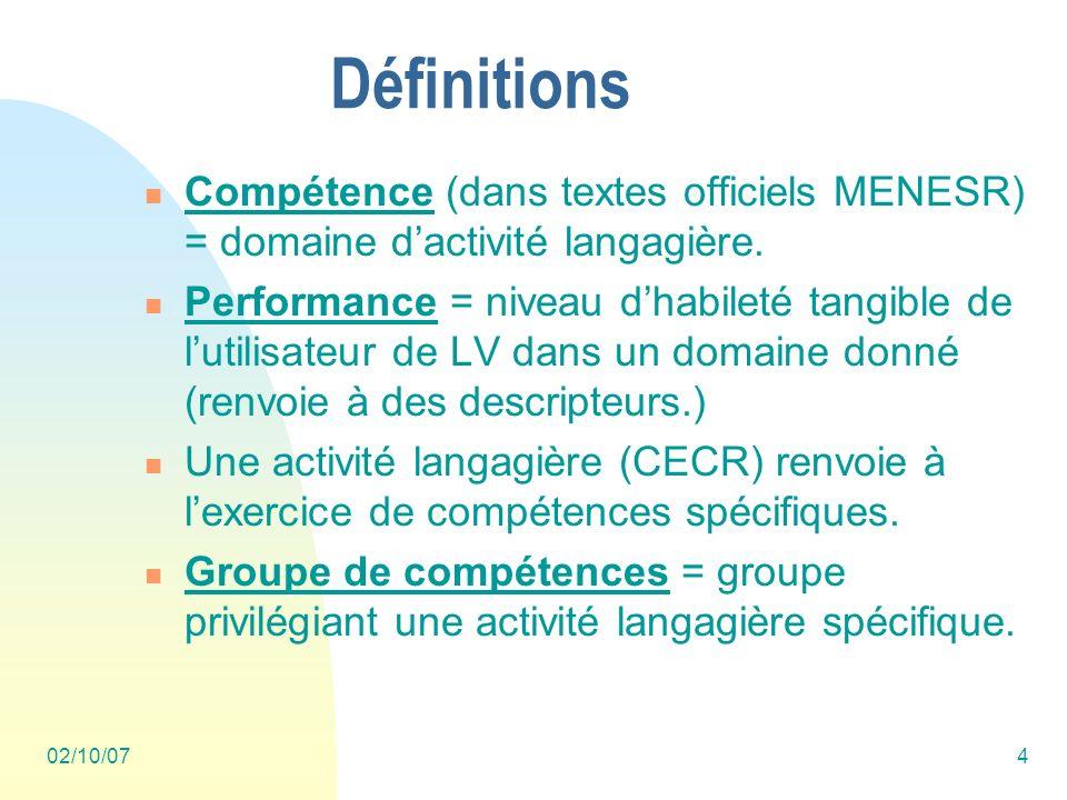 02/10/074 Définitions Compétence (dans textes officiels MENESR) = domaine dactivité langagière.
