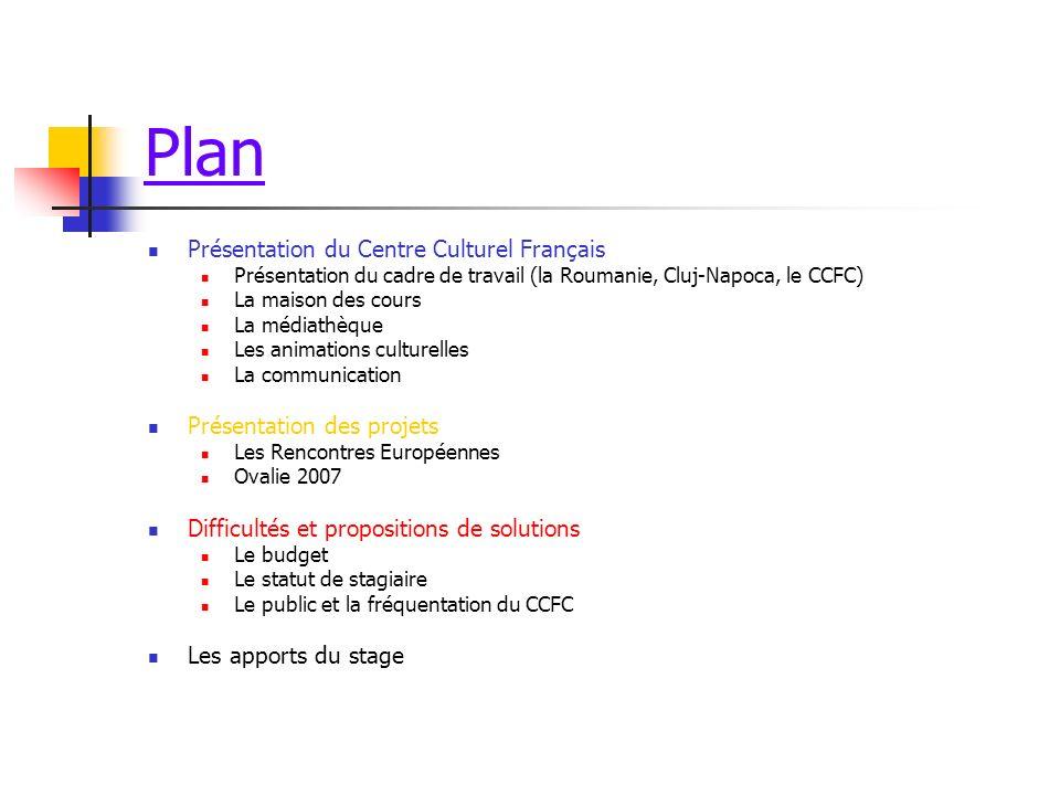 Plan Présentation du Centre Culturel Français Présentation du cadre de travail (la Roumanie, Cluj-Napoca, le CCFC) La maison des cours La médiathèque