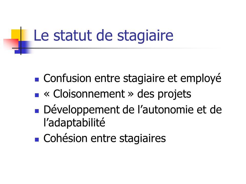 Le statut de stagiaire Confusion entre stagiaire et employé « Cloisonnement » des projets Développement de lautonomie et de ladaptabilité Cohésion ent