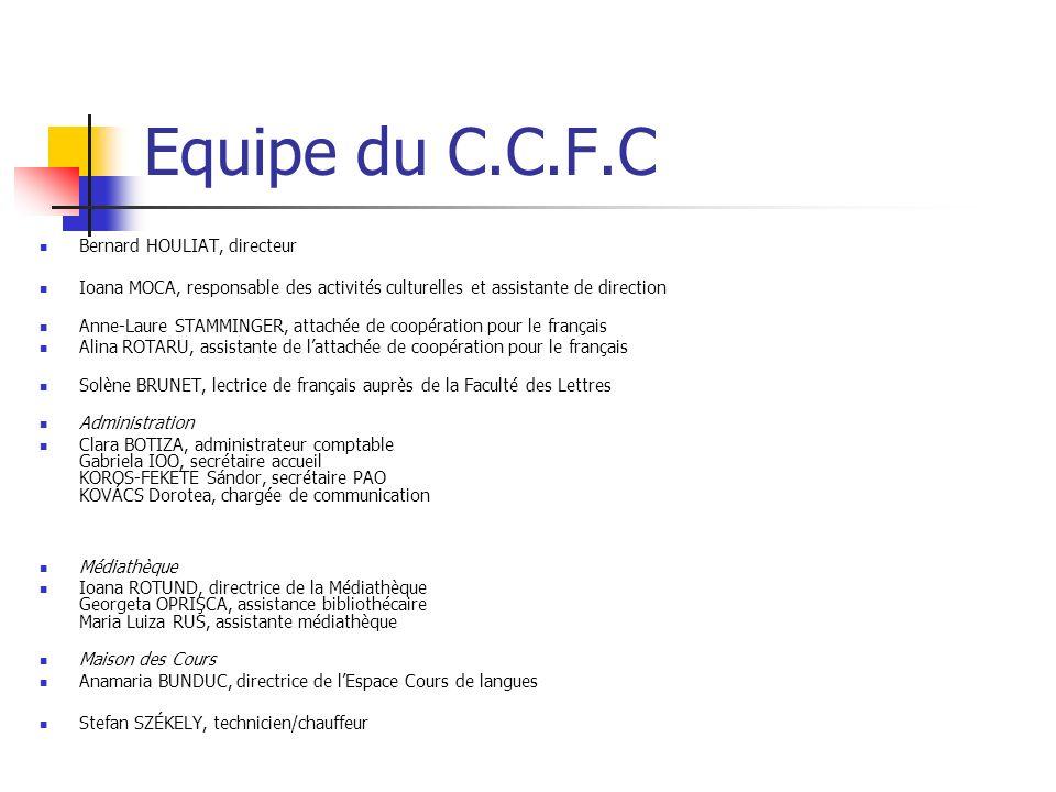 Le C.C.F.C Budget 1/3 institutions françaises 1/3 institutions locales et partenariat financier 1/3 dautofinancement Répartition du budget Chaque service dispose dune part du budget annuel En accord avec les politiques en matière de finances du CCFC et du MAE