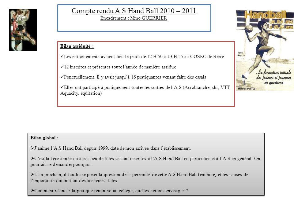Compte rendu A.S Hand Ball 2010 – 2011 Encadrement : Mme GUERRIER Bilan assiduité : Les entraînements avaient lieu le jeudi de 12 H 50 à 13 H 55 au CO