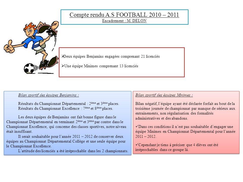 Compte rendu A.S FOOTBALL 2010 – 2011 Encadrement : M. DELON Deux équipes Benjamins engagées comprenant 21 licenciés Une équipe Minimes comprenant 13