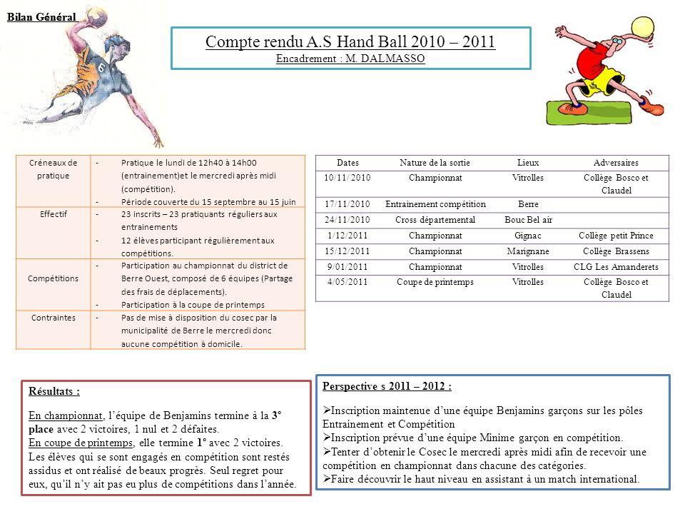 Compte rendu A.S Hand Ball 2010 – 2011 Encadrement : M. DALMASSO Créneaux de pratique -Pratique le lundi de 12h40 à 14h00 (entrainement)et le mercredi