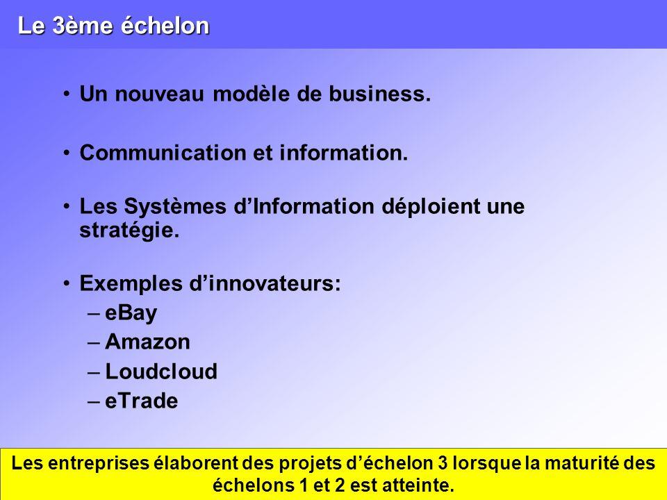 Le 3ème échelon Un nouveau modèle de business. Communication et information. Les Systèmes dInformation déploient une stratégie. Exemples dinnovateurs:
