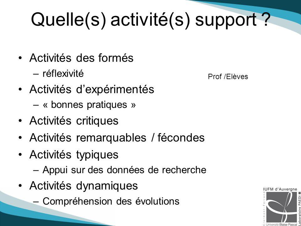 Quelle(s) activité(s) support .
