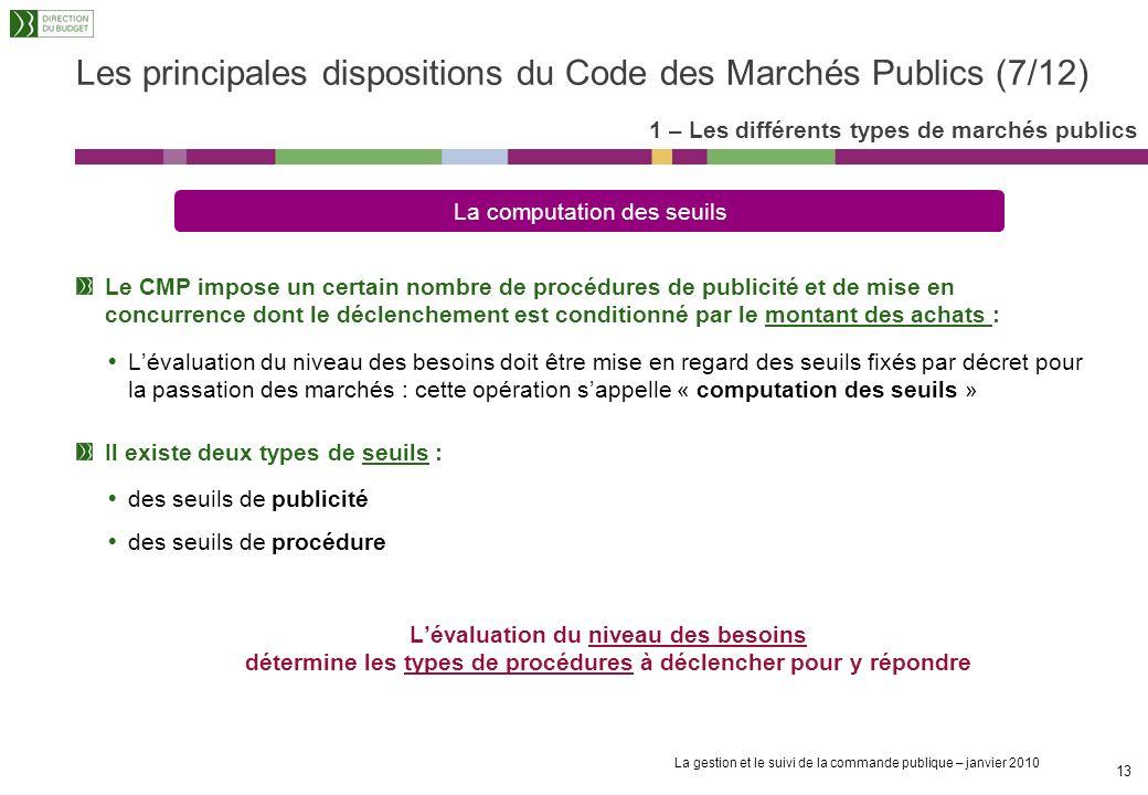 La gestion et le suivi de la commande publique – janvier 2010 12 Le pouvoir adjudicateur doit respecter trois principes fondamentaux : La liberté dacc