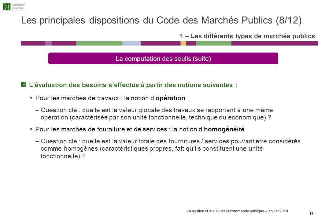 La gestion et le suivi de la commande publique – janvier 2010 13 Le CMP impose un certain nombre de procédures de publicité et de mise en concurrence