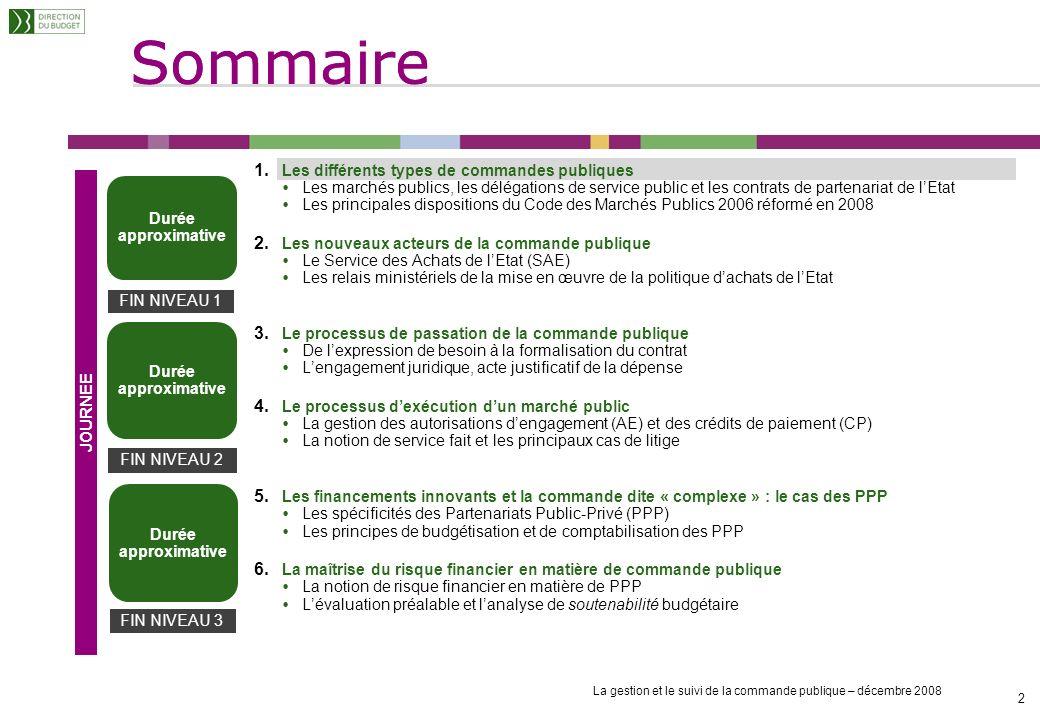Sommaire La gestion et le suivi de la commande publique – décembre 2008 2 2 1.