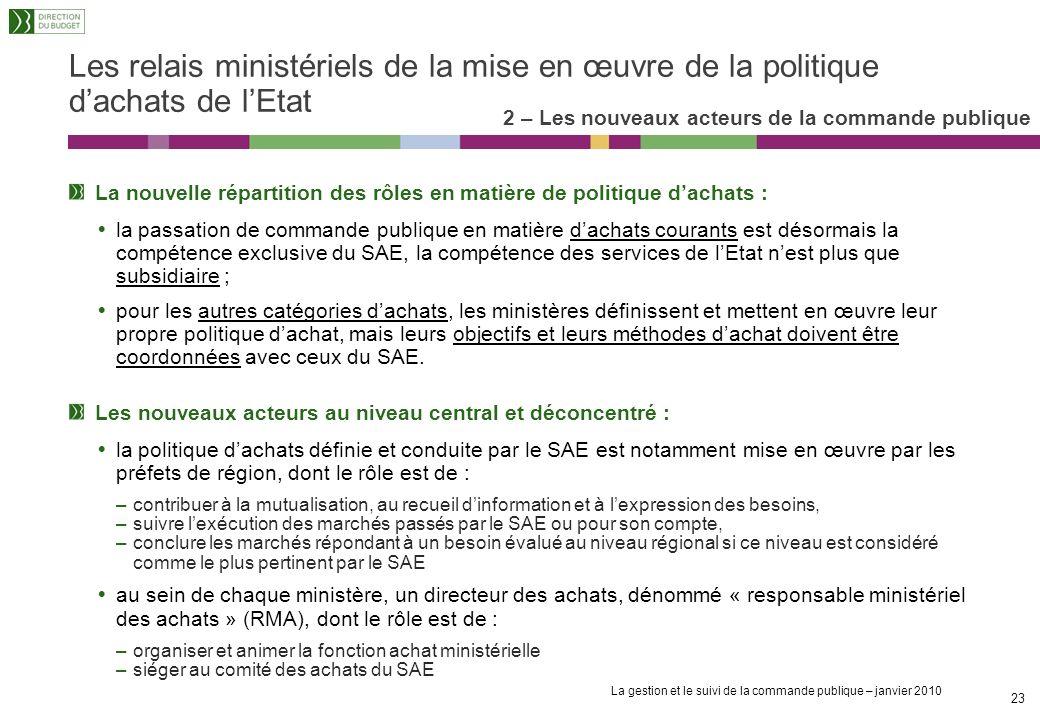 La gestion et le suivi de la commande publique – janvier 2010 22 Le SAE (Service des Achats de lEtat) (2/2) 2 – Les nouveaux acteurs de la commande pu