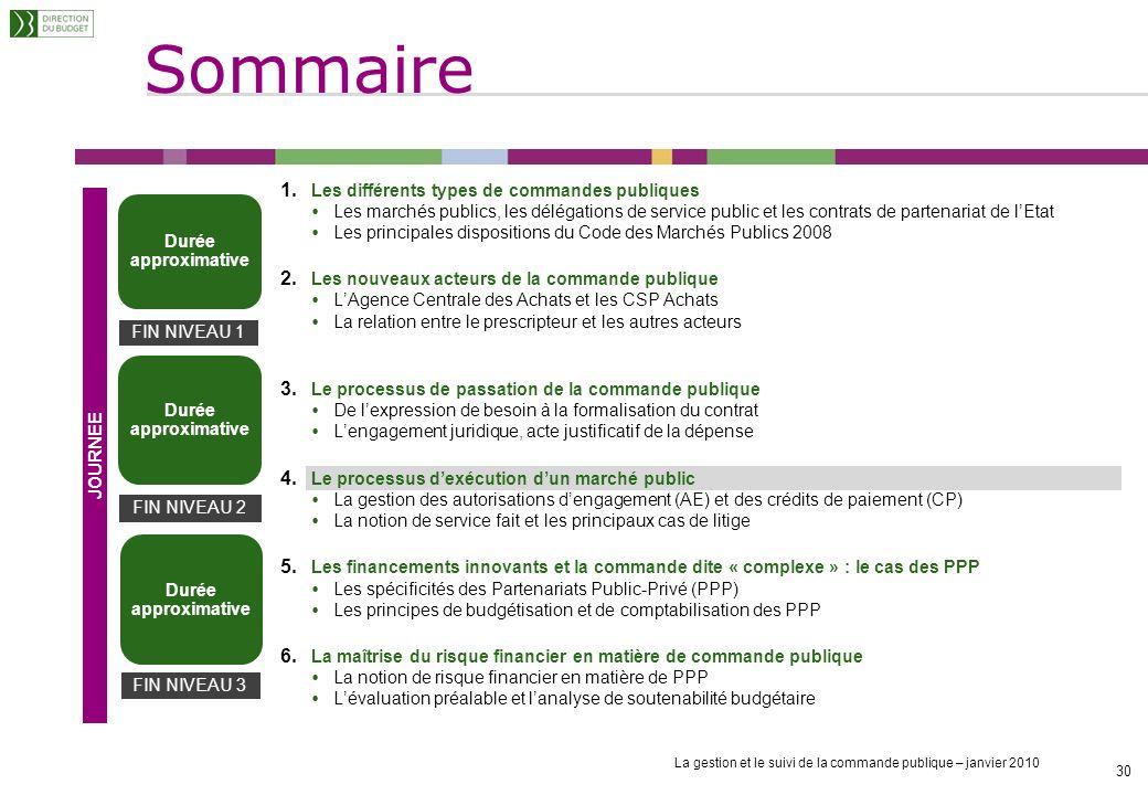 La gestion et le suivi de la commande publique – janvier 2010 29 Le gestionnaire des engagements juridiques doit, au fil de leau : Enregistrer et cont