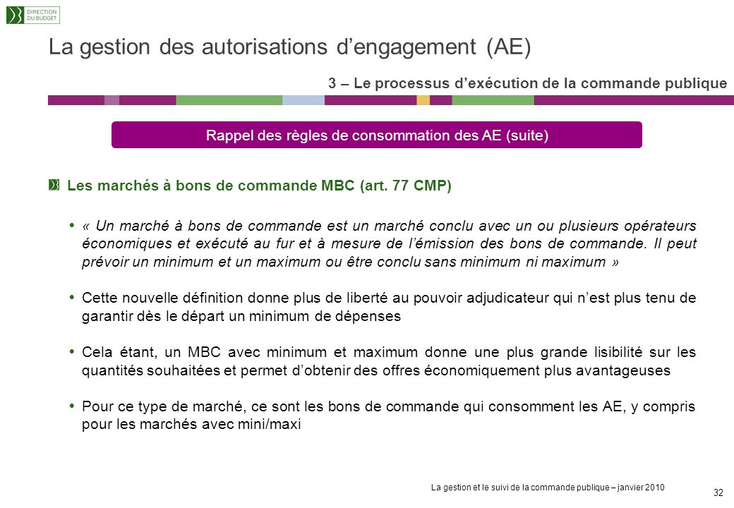 La gestion et le suivi de la commande publique – janvier 2010 31 La gestion des autorisations dengagement (AE) Les marchés à montant forfaitaire Engag