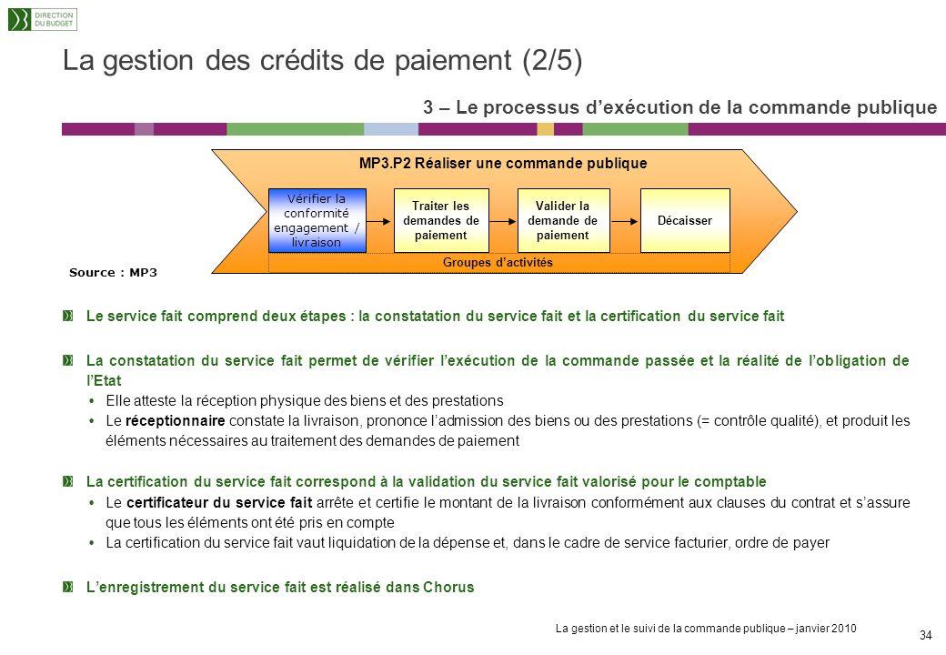 La gestion et le suivi de la commande publique – janvier 2010 33 La gestion des crédits de paiement (1/5) Les échéanciers de CP sont réalisés à partir