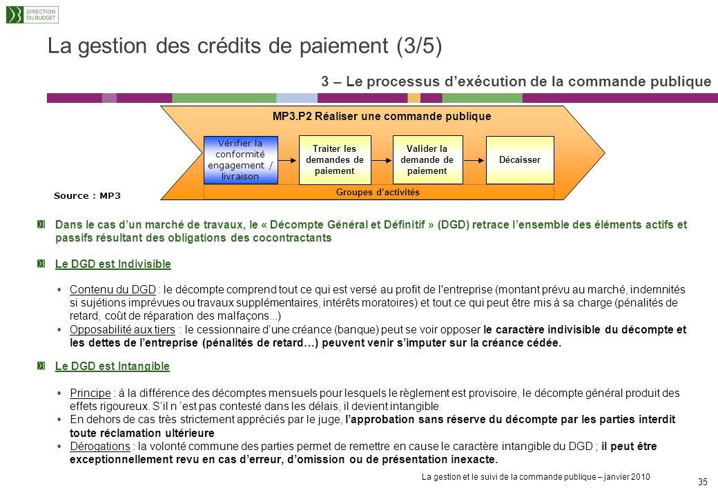 La gestion et le suivi de la commande publique – janvier 2010 34 La gestion des crédits de paiement (2/5) Le service fait comprend deux étapes : la co