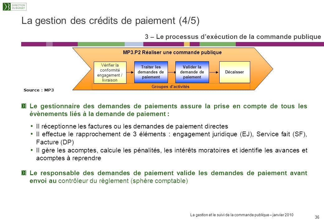 La gestion et le suivi de la commande publique – janvier 2010 35 La gestion des crédits de paiement (3/5) Dans le cas dun marché de travaux, le « Déco