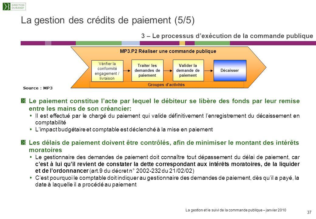 La gestion et le suivi de la commande publique – janvier 2010 36 La gestion des crédits de paiement (4/5) Le gestionnaire des demandes de paiements as