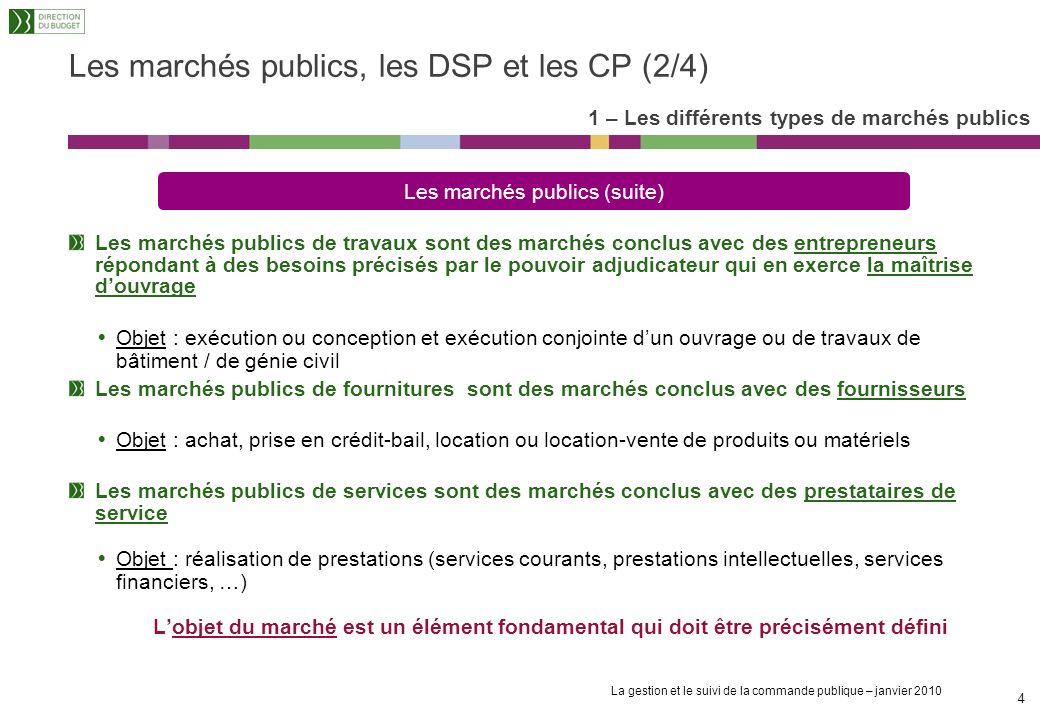 La gestion et le suivi de la commande publique – janvier 2010 3 Les marchés publics, les DSP et les CP (1/4) 1 – Les différents types de marchés publi