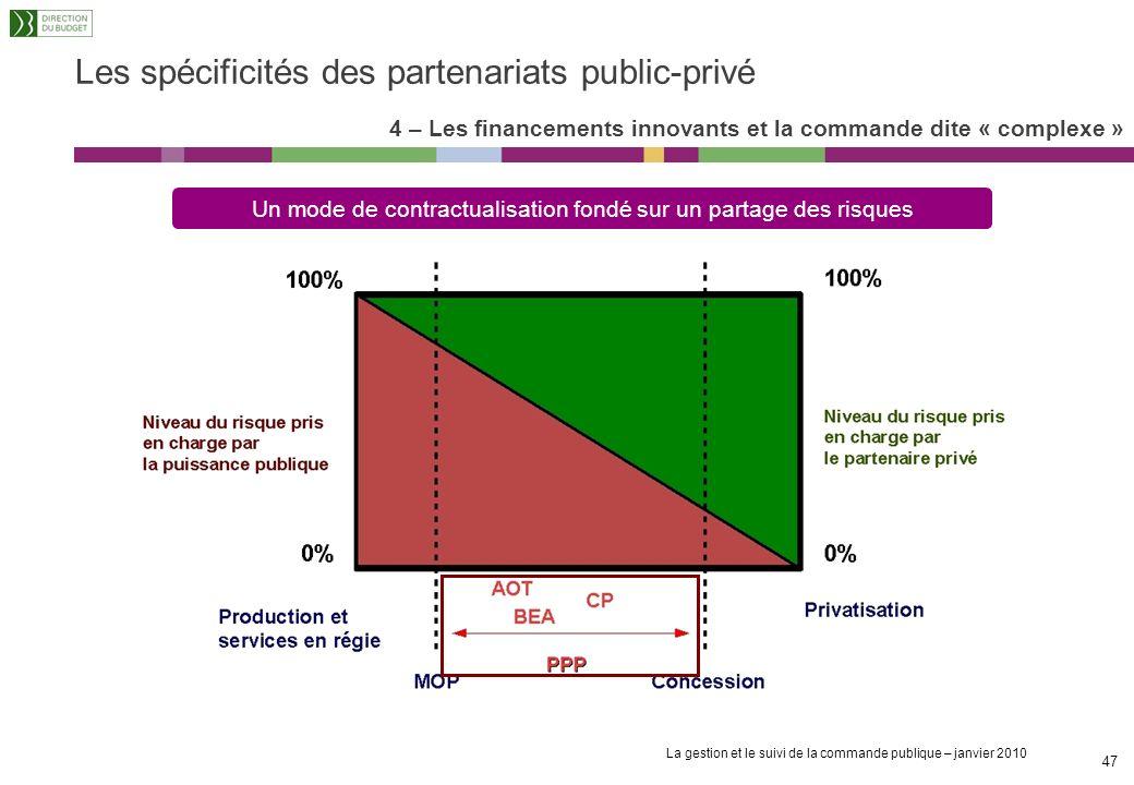 La gestion et le suivi de la commande publique – janvier 2010 46 Les spécificités des partenariats public-privé Commission européenne (Livre vert sur