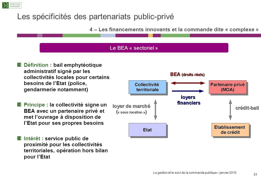 La gestion et le suivi de la commande publique – janvier 2010 50 4 – Les financements innovants et la commande dite « complexe » Les dimensions dun PP