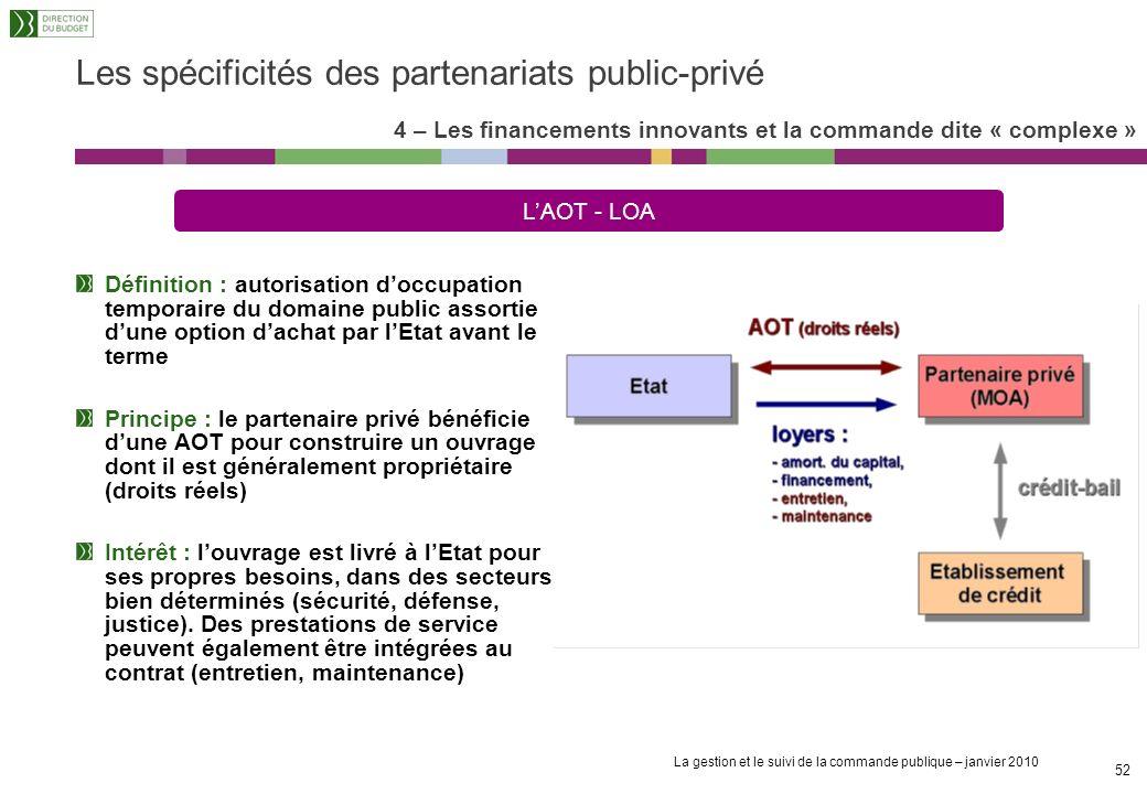 La gestion et le suivi de la commande publique – janvier 2010 51 Définition : bail emphytéotique administratif signé par les collectivités locales pou