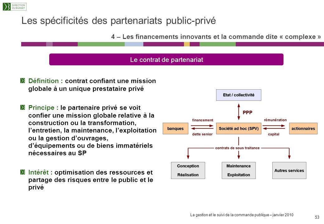 La gestion et le suivi de la commande publique – janvier 2010 52 4 – Les financements innovants et la commande dite « complexe » Les spécificités des