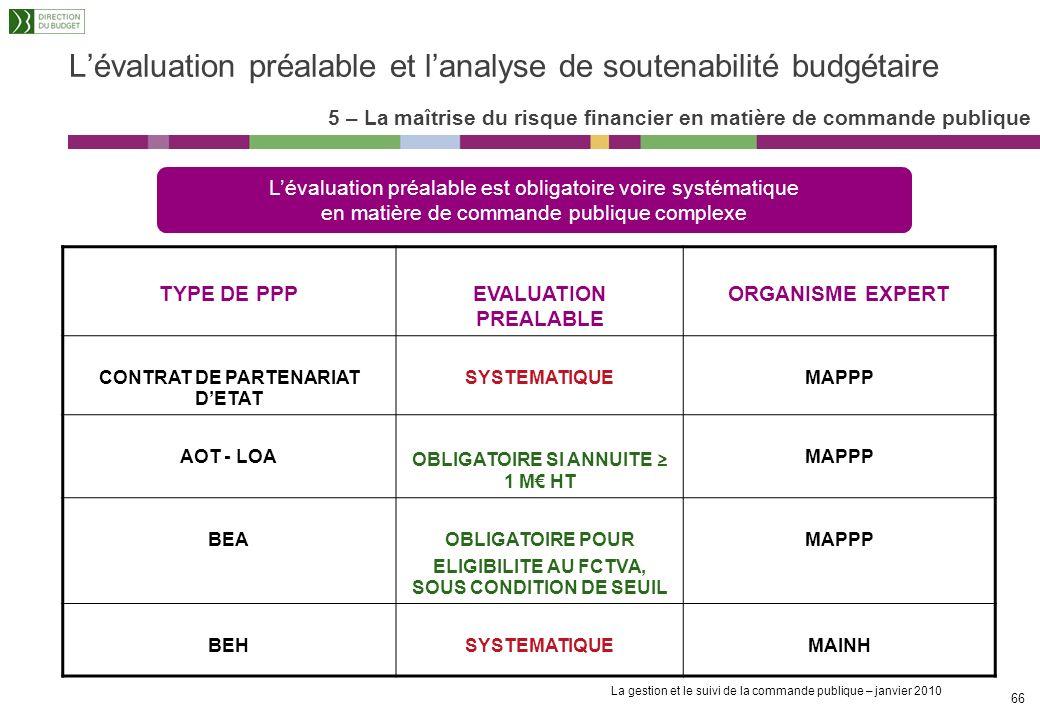 La gestion et le suivi de la commande publique – janvier 2010 65 Lévaluation préalable et lanalyse de soutenabilité budgétaire 5 – La maîtrise du risq