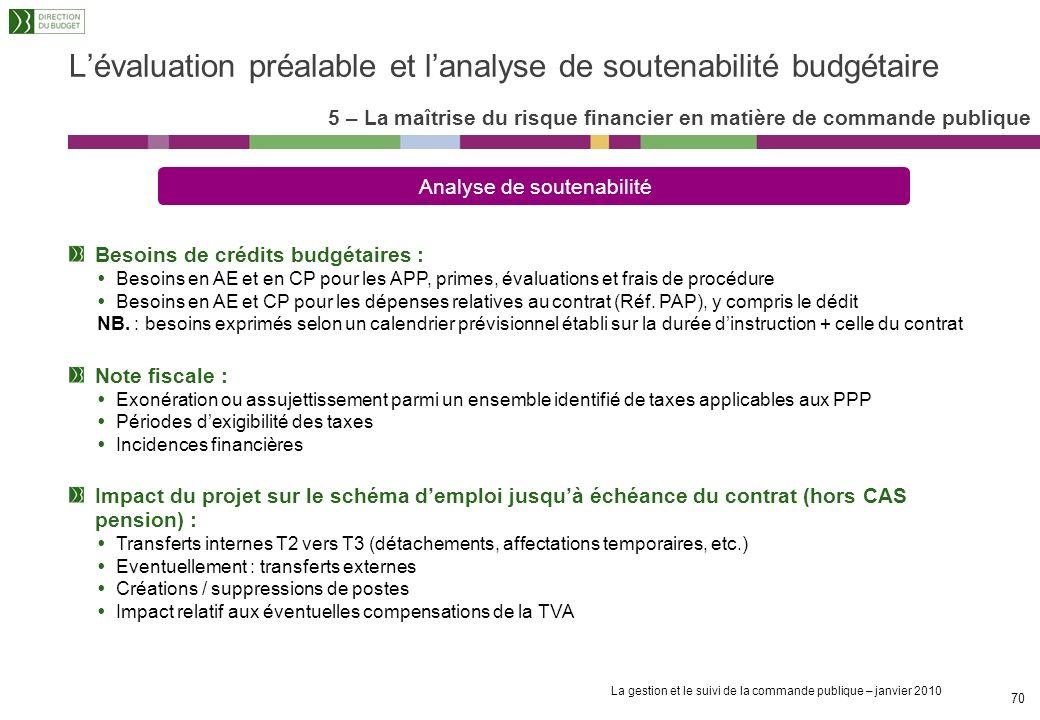 La gestion et le suivi de la commande publique – janvier 2010 69 Lévaluation préalable et lanalyse de soutenabilité budgétaire 5 – La maîtrise du risq