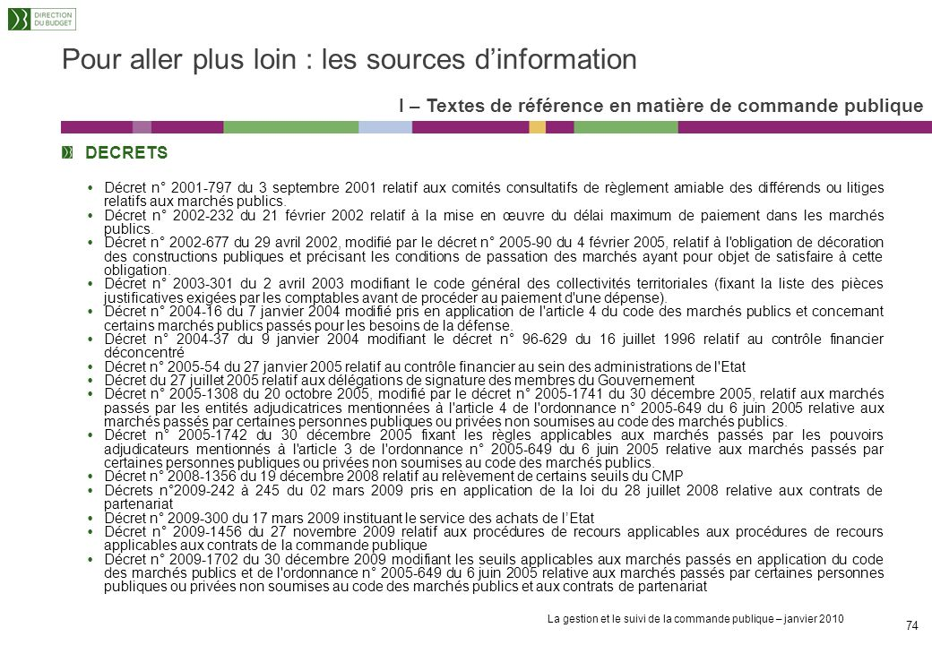 La gestion et le suivi de la commande publique – janvier 2010 73 TEXTES LEGISLATIFS Directive 2004/18/CE du Parlement européen et du Conseil du 31 mar