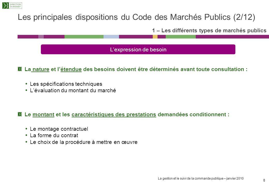 La gestion et le suivi de la commande publique – janvier 2010 7 La notion de « pouvoir adjudicateur » désigne les personnes publiques suivantes : LEta
