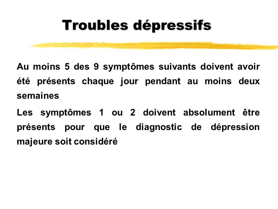 Troubles dépressifs Au moins 5 des 9 symptômes suivants doivent avoir été présents chaque jour pendant au moins deux semaines Les symptômes 1 ou 2 doi