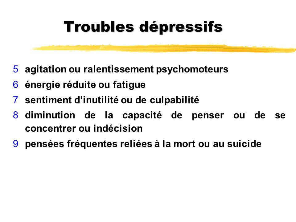 Troubles dépressifs 5agitation ou ralentissement psychomoteurs 6énergie réduite ou fatigue 7sentiment dinutilité ou de culpabilité 8diminution de la c