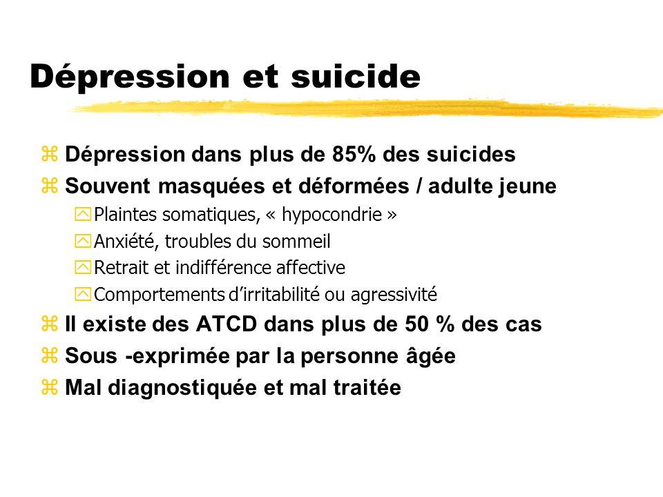 Dépression et suicide zDépression dans plus de 85% des suicides zSouvent masquées et déformées / adulte jeune yPlaintes somatiques, « hypocondrie » yA
