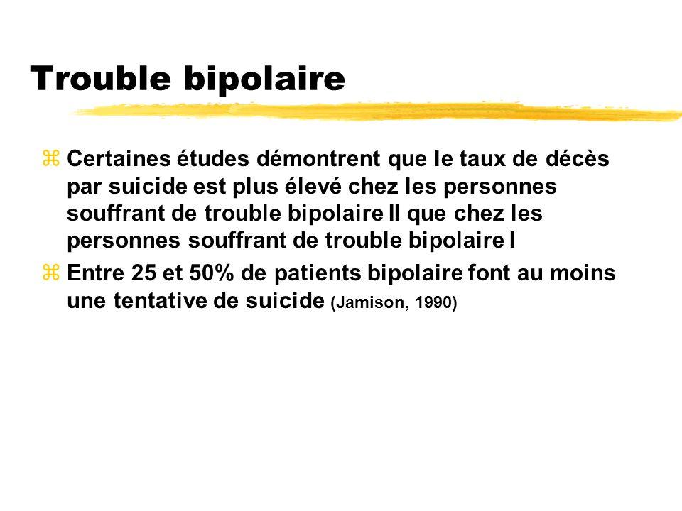 Trouble bipolaire zCertaines études démontrent que le taux de décès par suicide est plus élevé chez les personnes souffrant de trouble bipolaire II qu