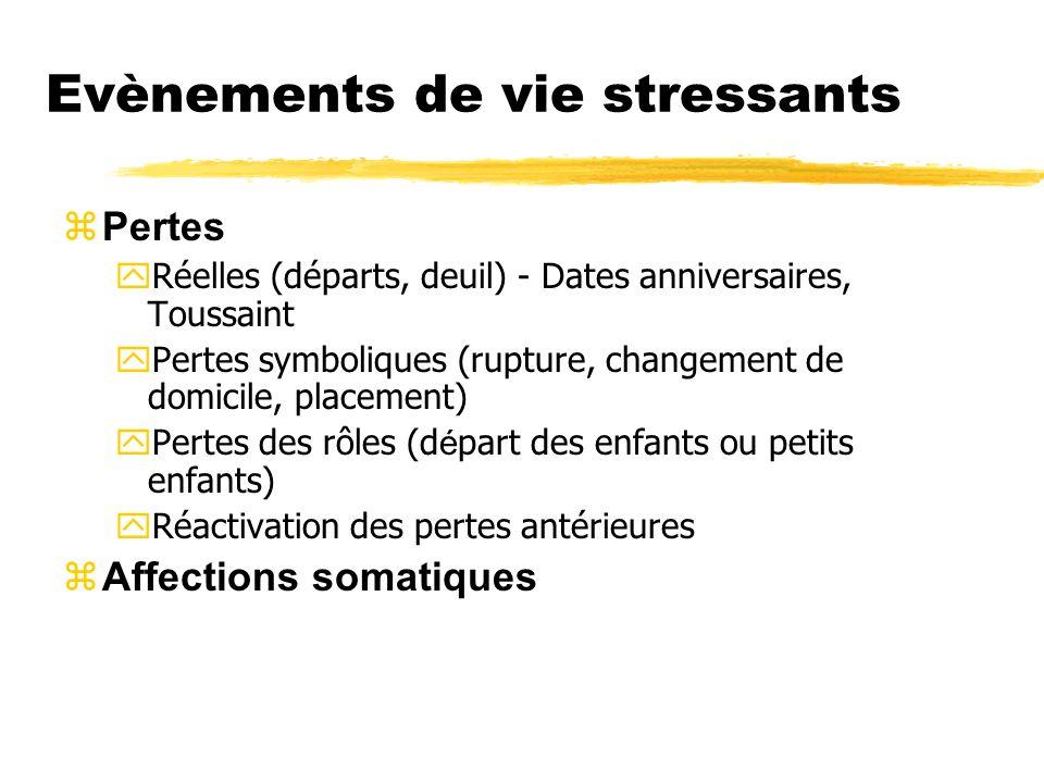 Evènements de vie stressants zPertes yRéelles (départs, deuil) - Dates anniversaires, Toussaint yPertes symboliques (rupture, changement de domicile,