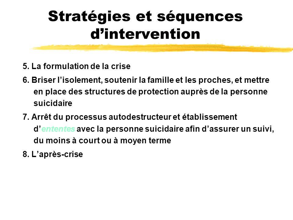 Stratégies et séquences dintervention 5. La formulation de la crise 6. Briser lisolement, soutenir la famille et les proches, et mettre en place des s