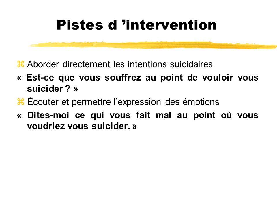 Pistes d intervention zAborder directement les intentions suicidaires « Est-ce que vous souffrez au point de vouloir vous suicider ? » zÉcouter et per