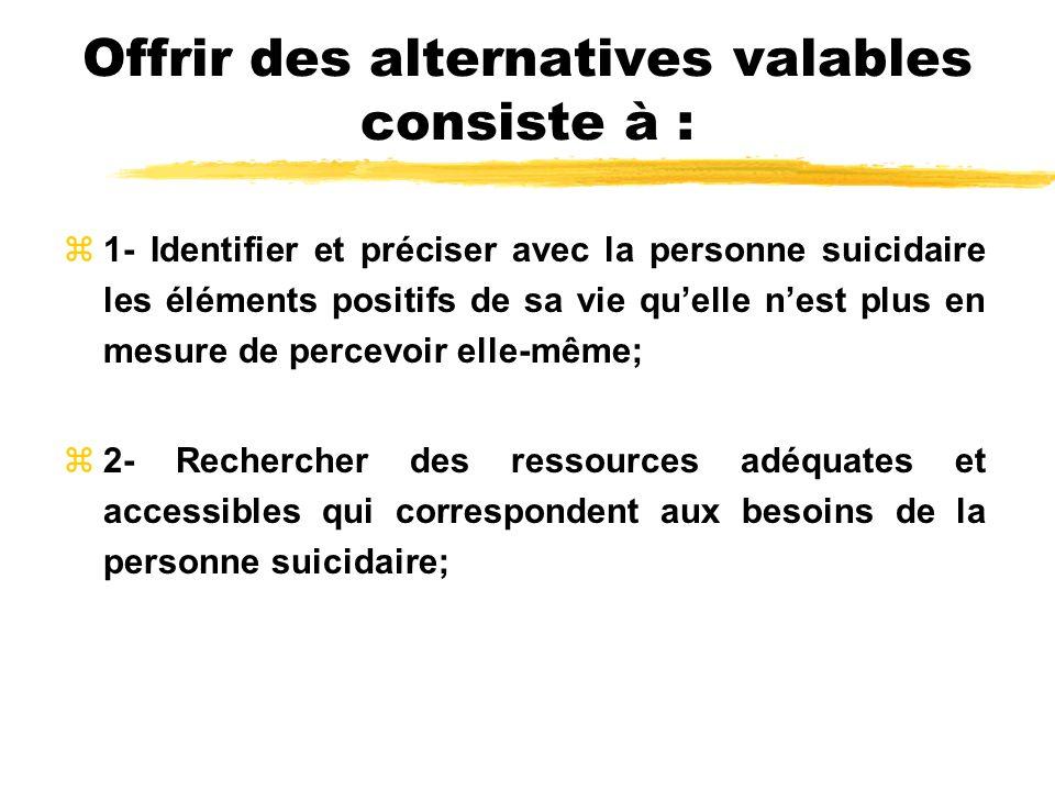 Offrir des alternatives valables consiste à : z1- Identifier et préciser avec la personne suicidaire les éléments positifs de sa vie quelle nest plus