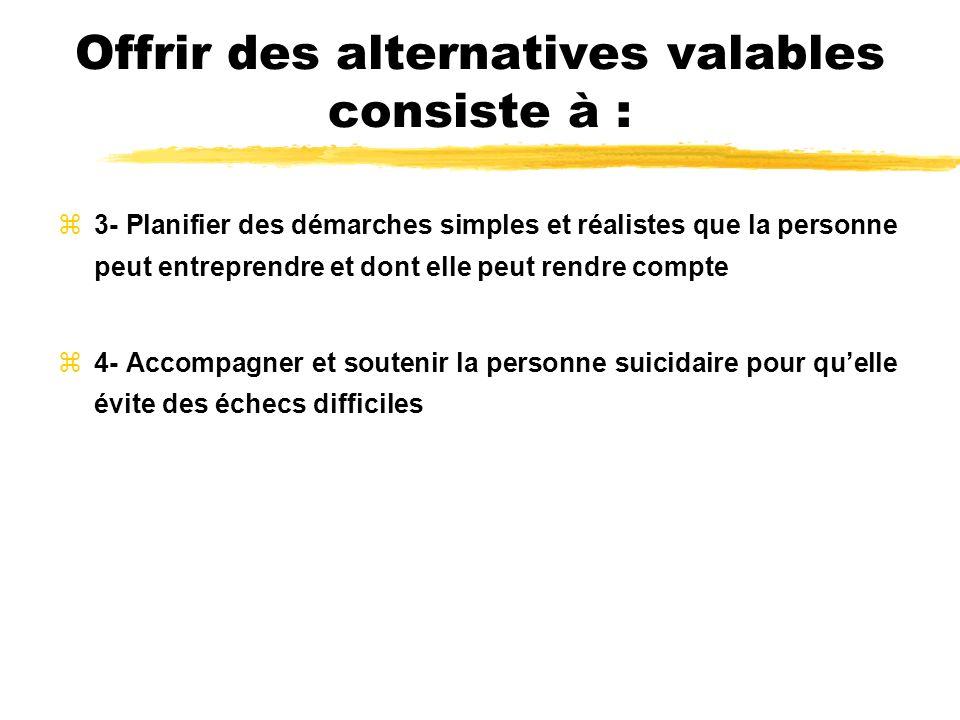 Offrir des alternatives valables consiste à : z3- Planifier des démarches simples et réalistes que la personne peut entreprendre et dont elle peut ren