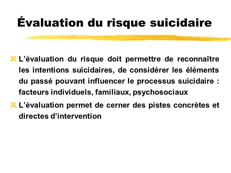 Évaluation du risque suicidaire zLévaluation du risque doit permettre de reconnaître les intentions suicidaires, de considérer les éléments du passé p