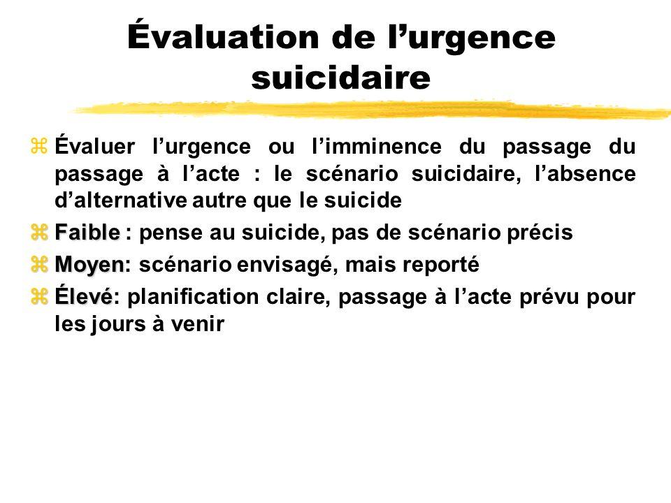 Évaluation de lurgence suicidaire zÉvaluer lurgence ou limminence du passage du passage à lacte : le scénario suicidaire, labsence dalternative autre