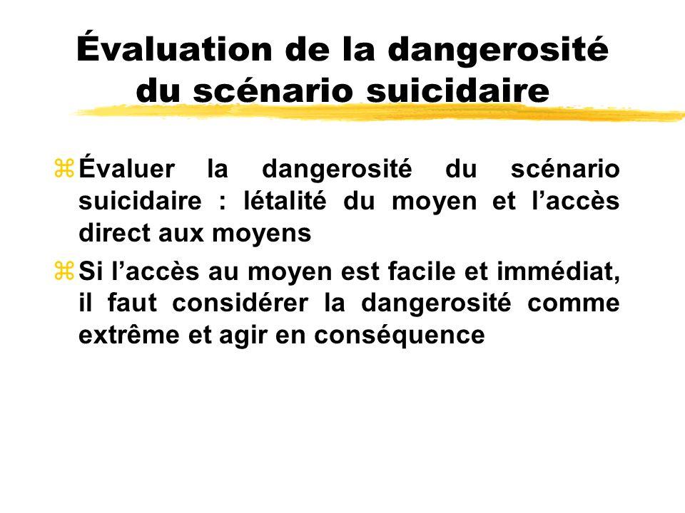 Évaluation de la dangerosité du scénario suicidaire zÉvaluer la dangerosité du scénario suicidaire : létalité du moyen et laccès direct aux moyens zSi